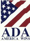 American Flag Pattern with text below-ADA AmericaWins